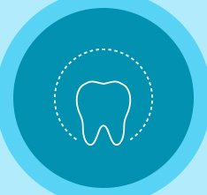 Animated tooth in circle icon
