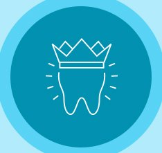 Animated tooth with crown icon